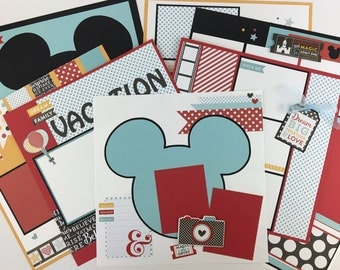 12x12 Scrapbook Page Kit or Premade Disney Like Theme 8 Pages Pre-Cut with Instructions