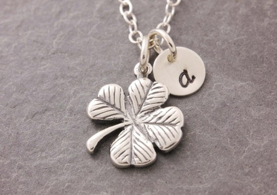 Four Leaf Clover Necklace, shamrock necklace, lucky symbol, lucky charm, personalized, initial necklace, clover necklace, N6