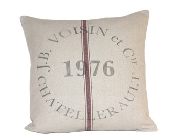 Vintage French Industrial JB Voisin Grain Sack Cushion cover