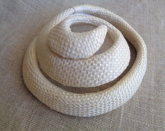 Vintage Hat 1950s Fascinator or Bridal Headpiece Cream Straw Swirl Mr. D'