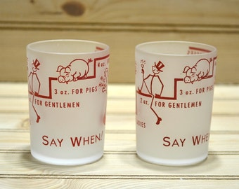 Vintage 'Say When' Shot Glasses Hazel Atlas Souvenir Lake of the Ozarks Red Print Frosted Funny Humor Gag Gift Rabbit Pig Jackass Barware