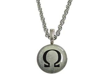 Mathematical Greek Omega Symbol Pendant Necklace
