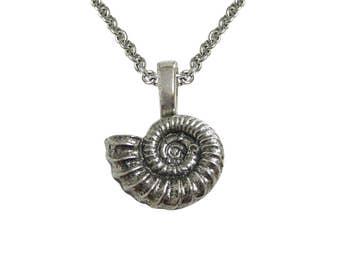 Silver Toned Ammonite Fossil Design Pendant Necklace