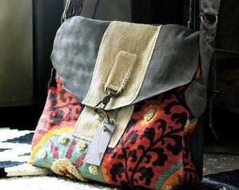 The Smilla Handbag, Suede Leather Sunset Handbag, Travel Handbag, Colorful Handbag, Womens Handbag, Made by Rolina, Handbags, Boho Bag