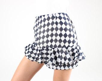 Adorable 90s Harlequin Ruffle Burlesque Style High Waist Dance Costume Hotpants / Shorts