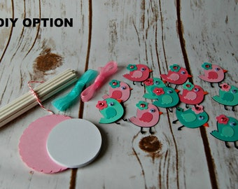 DIY Kit Baby Bird Birthday Party Cupcake Toppers (set of 12)