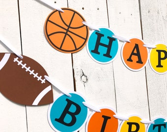 Sports Birthday Banner/ Sports Party Banner/ baseball/ soccer/ football/ basketball/Party Package