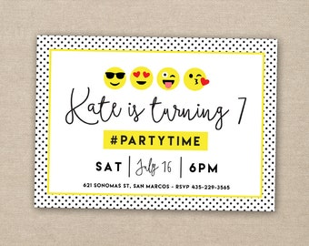 emoji party invitation - tween party invitation - girl birthday invitation - emoticon party invitation