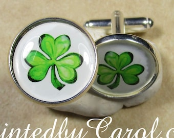 Shamrock Cufflinks, Irish Cufflinks, St Patrick's Day Cufflinks, Saint Patrick's Day Cufflinks, St Patty's Day Cufflinks, Clover Cufflinks