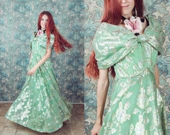 Bohemian dress , floral dress, pale green, metallic prints , dress,size medium to large,maxi dress bohemian,1960s dress, disco dress, 1970s,