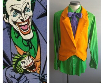 Upcycled Steampunk Clothing, Joker Costume Orange Vest, Green Button-up Shirt and Purple Cotton Bow Tie, Custom Listing, Men's S, M, L