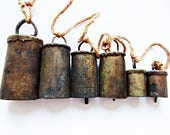 Antique Metal Cow Bells 6 Sizes on Rope, Rustic Primtive Folk Art, Bavarian Home Decor