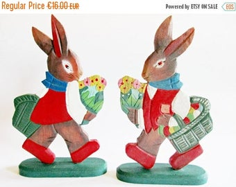 SPRING SALE - Pair of Lovely Vintage Standing Wooden Easter Bunnies with Egg Baskets and Flowers - Home decor for Easter