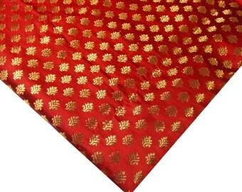 Red and Gold Brocade - Half Yard Art Silk Woven Brocade Fabric - Tiny Flowers Pattern Brocade / Banaras Silk Fabric in Red Gold