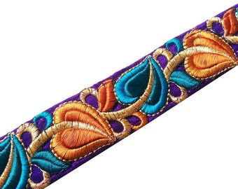 Boho Embroidery Silk - Trim Embroidered Silk Border - Raw Silk Wide Border / Lace /  Embroidered Trim /  Sari Lace By Yard