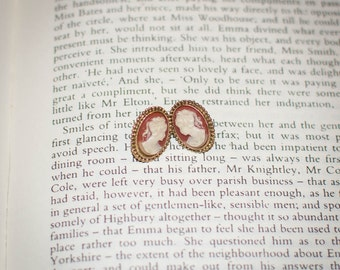 Vintage Jane Austen Style Cameo Earrings: Coral