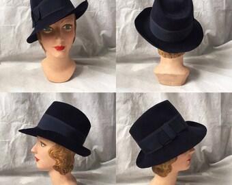 Reserved! 1940s homburg or fedora style tilt hat navy blue