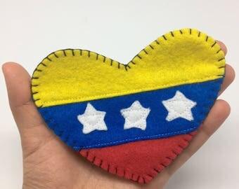 Venezuela flag, tricolor, Venezuela pin, Venezuela heart, heart brooch, bandera Venezuela, I love Venezuela, resistance, freedom, democracy