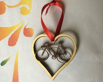 Bicycle Ornament: bicycle Christmas ornament, bicycle, bicycle love, cycle ornament, laser cut, bicycle gift, bike ornament