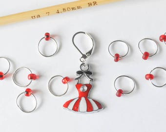 Really Red Progress Keeper Set Red and White Dress Charm with Small Beaded Stitch Markers Knitting Notions Gift Ideas