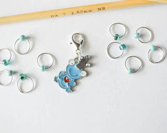 Blue Frog Prince Progress Keeper and Small Beaded Stitch Markers Set in Blue and Orange Knitting Notions Gifts for Knitters