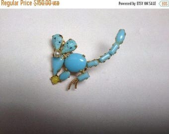 15% Discount SCHREINER Faux Turquoise Mouse Figural Brooch   RARE   Item No: 16767