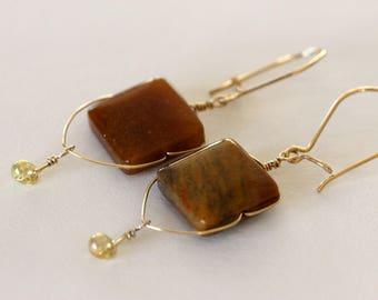 square stone gold dangle earrings | red jasper jewelry | gold wire earrings | handmade gold filled earrings | girlthree jewelery | red stone