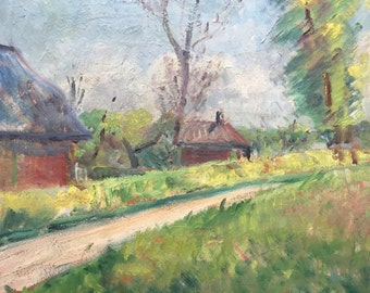 Country side. Oil painting Lucienne Berger Lheureux 1902-1983