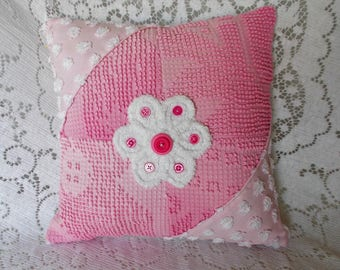Pink Chenille Pillow, Handmade Pillow, Vintage Chenille Pillow, Nursery Pillow, Throw Pillow, Accent Pillow, Pink Pillow, Cotton Pillow