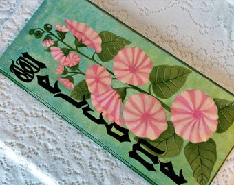 "Welcome Sign, Door Hanger, Entrance Way Sign, Front Door Sign, Hollyhock Sign, Shabby Chic Sign,  Floral Sign, Door Sign, 19 1/4"" x 9 1/4"""