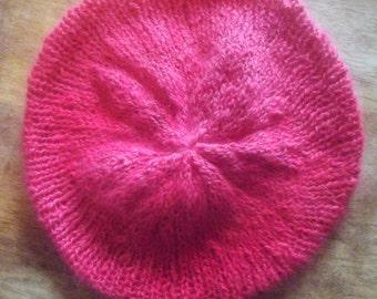 Angora ,Hand spun ,Hand knit ,  Red Tam