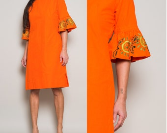 1960s// Fiesta Embroidery// Ruffle Sleeve// A line Mini// Papaya// Med