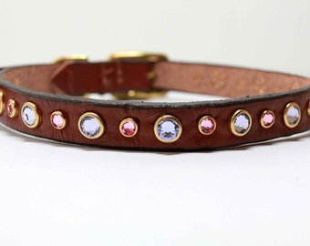 "13-16"" Small Leather Dog Collar with Caribbean Blue Opal Swarovski Crystals"