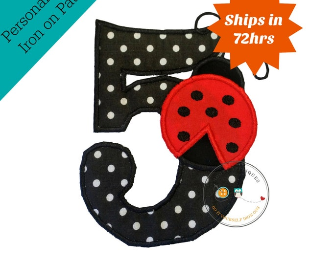 Red lady bug birthday number 5 iron on applique- black and white poka dots and red lady bug machine embroidered fabric no sew patch-DIY