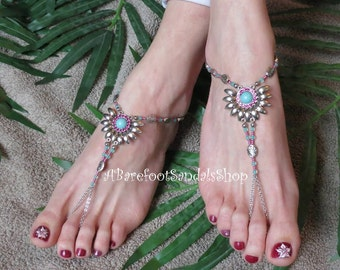 Southwestern Jewelry Barefoot Sandals Beach Wedding Shoes Gyspy Toe Ring Anklet Chain USA Women's Wedding Foot Body Beach Jewelry To Go