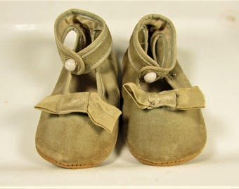 Victorian Baby Shoes - Ankle Strap Glass Button Ribbon Crib Doll Booties