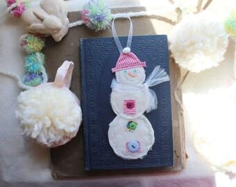 Happy Snowman Handmade Ornament Winter Christmas Decoration