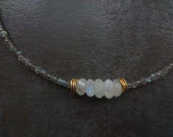 Labradorite And Moonstone Boho Necklace/Gemstone Necklace/18""