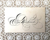 Beautiful Victorian Era Calligraphy Calling Card for Miss Ella Rickard