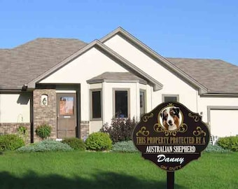 Personalized Protected by Australian Shepherd sign