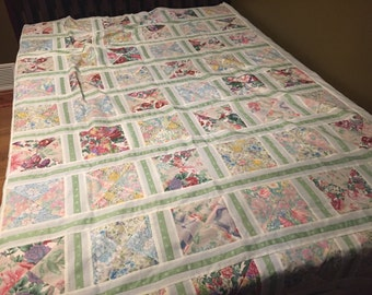 Handmade White and Floral Quilt Top by MarlenesAttic