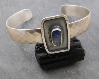 Tanzanite Crystal Modernist Cuff, Oxidized Sterling Silver, Ornate Wire, Natural Tanzanite Mineral Bracelet