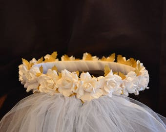 First Communion Head Piece with White Flowers and Green Leafs