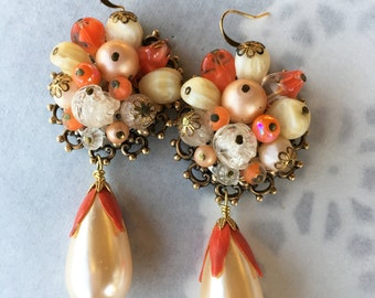 Stunning Assemblage Salvaged Earrings From 50's.  Colors of Cream and Warm Coral/Orange Remind me of Yummy Sherbert! Gold Tone Findings.