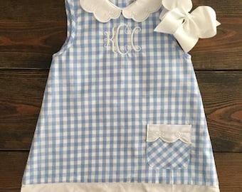 Girls Madison Blue Gingham Dress