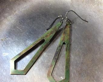 Patina Earrings Brass Earrings verdigris Earrings Patina Jewelry Art Deco Earrings Art Deco Jewelry Verdigris Earrings Vintage Brass