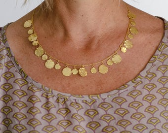 Golden disk gypsy necklace