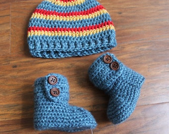 Newborn Hat and Booties, Baby Boy Take Me Home Outfit, Baby Boy Clothes,  Baby Boy