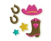 Cowgirl Mini Embroidery Designs Set - Fill stitch embroidery design 3 sizes GRL011