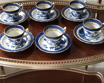 Vintage white and blue china coffee set
